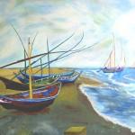 Boats on the Beach Van Gogh intepretation