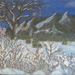 Flatirons First Snow 18x24 Oil on canvas. 1983
